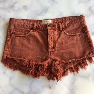 Free People Soft & Relaxed Denim Short Teracotta